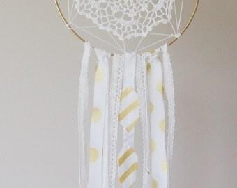 Crib Mobile, Shabby Chic Dream Catcher Baby Mobile - White & Gold