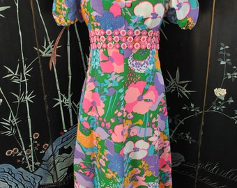 1960s Psychedelic Floral Print Maxi Dress -