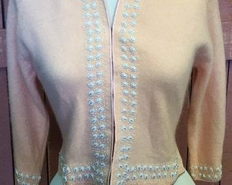 "Vintage 50's pretty pink beaded cardigan sweater Sz 38"" B"