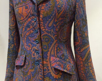 Psychedelic paisley tapestry fitted jacket by John Meyer 1960s