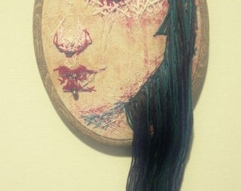 Hand-Stitched Portrait in Embroidery Hoop