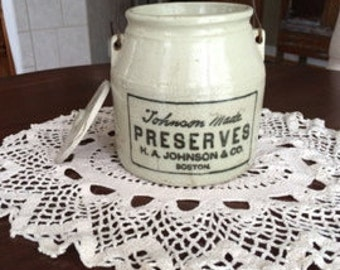H. A. Johnson Preserves Stoneware Crock Jug with Bail