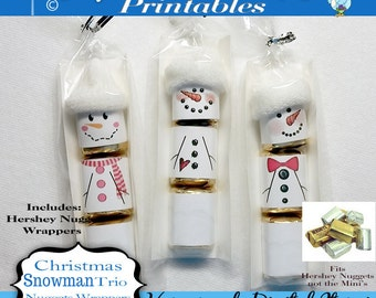Hershey Nuggets Candy Bar Wrapper, Christmas - Snowman trio, for the Nuggets not mini's, party favor,printable, download, personal use only