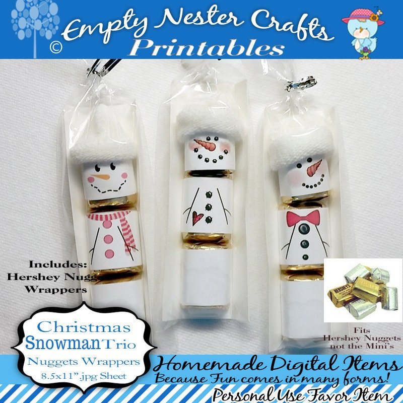 Hershey Nuggets Candy Bar Wrapper Christmas Snowman trio
