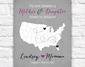 The Love Between a Mother and Daughter Knows no Distance Custom Map Art Print for Mom, Mothers Day Gift, Long Distance, Gift for Her | WF121