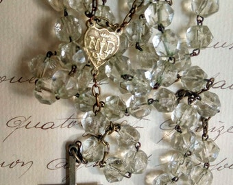 Antique French Faceted Crystal Rosary Souvenir of Lourdes