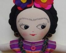 FRIDA KAHLO DOLL  - Handmade ragdoll Ooak Art Doll Mexican cloth doll - Made to Order