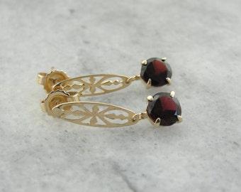 Deep Red Garnet Drop Earrings with Open Work Details, Long Fine Gold Drop Earrings  ZH8C5H-N