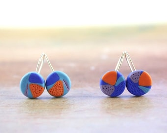 Colorful contemporary abstract earrings, funky fimo , polymer clay jewelry