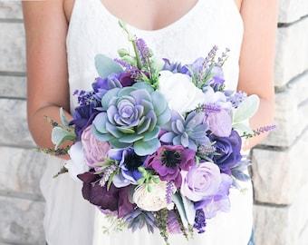 Lush Plum Purple Lilac Wedding Succulent, Anemones and Sprays Silk Flower Bride Fall Rustic Bouquet