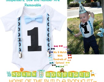 Little Man Mustache Party Outfit - Boys First Birthday Mustache Shirt - Mustache Bash - Baby Boy - Mustache Theme - Blue - Black - Vintage