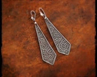 Gypsy Filigree Dangle Earrings - Ethnic Silver Dangle Earrings - Nepalese Earrings - Filigree Jewelry