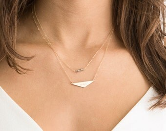 Triangle Bar Necklace, Gold Dainty Necklace/ 14k Gold Fill, Sterling Silver, 14k Rose Gold Fill / Geometric Jewelry, BOLD AVIATOR, LN156_35