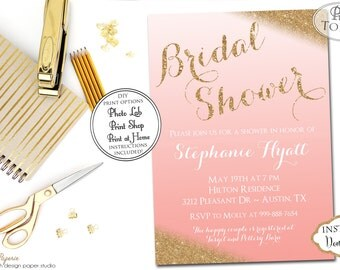 INSTANT DOWNLOAD - Coral Ombre Gold Glitter Bridal Shower Invitation - Gold Glitter Bridal Shower Invite - Glitter Bridal Shower - 0181