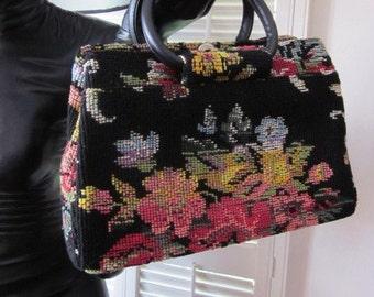JR Miami 50s purse / JR Tapestry Handbag / Vintage Tapestry Purse / 50s Tapestry handbag
