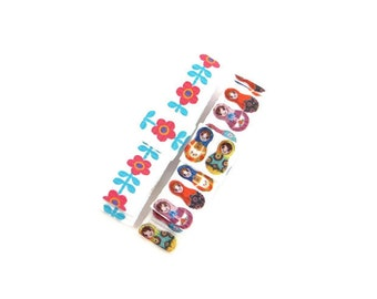White Hair Clip Set/ White Hair Clips/ Flower Hair Clips/ Matryoshka Hair Accessories/ Girl Hair Clips/ Toddler Hair Clip Set
