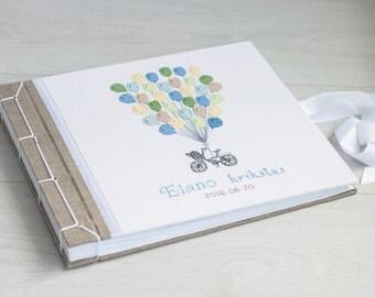 PHOTO ALBUM -  Personalized photo album - Baby Photo - Baby shower photo album natural linen