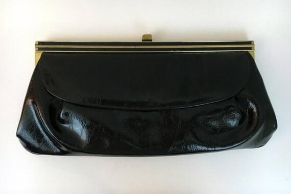 Vintage Black Vinyl Clutch, Retro Patent Leather Black Tote, Gold Trimmed Evening Bag, Fold over Purse, 1960's Hand Held Clutch