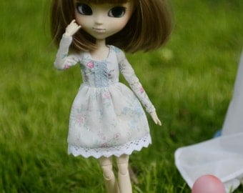 Floral long sleeve dress by Atelier Milabrocc for Pullip Obitsu 27