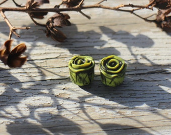 Made to order - Pair Rustic Roses, chartreuse green, acid rustic black antiqued, polymer clay rose bead, stylized folk art rose, art beads