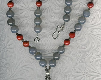 Do Not Disturb - Succor Creek Jasper Dog Pendant, Gray Agate, Red Jasper, Smoky Quartz, Sterling Silver Necklace