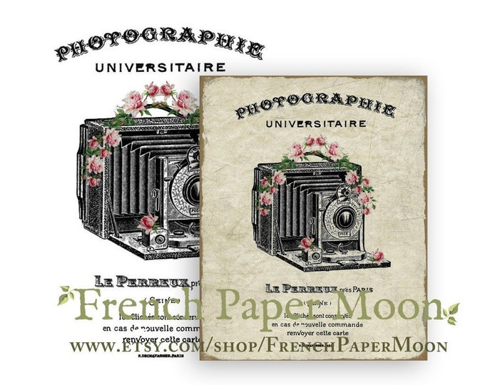 Digital Shabby Chic French Camera Image , French Pillow Image, Old fashioned Camera Printable Sheet, French Pillow Image