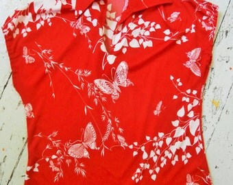 Vintage, 1960's, Pullover, Butterfly Print, Bright Red, Women's Top, Mardi Modes, New York