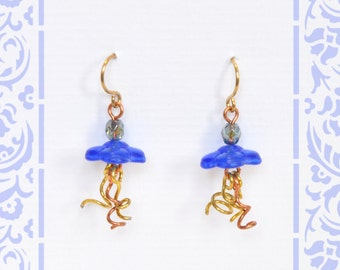 Mixed Metal Sunny Buttercup Earrings Gold Copper and Blue Earrings