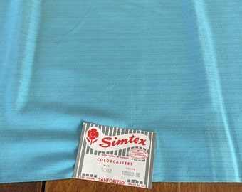 Vintage Simtex Tablecloth Unused with Paper Label, Turquoise Blue  52 x 52  square