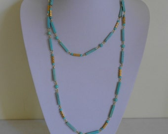 Vintage Faux Turquoise Drop Necklace