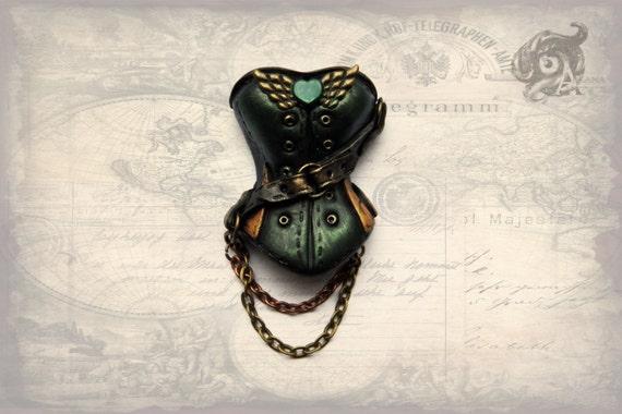 Steampunk Corset Brooch 4.5cm