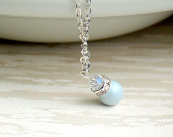 Pastel blue pearl necklace Swarovski pearl necklace Blue bridesmaid necklace Blue wedding jewelry Bridesmaid gift Flower Girl jewelry