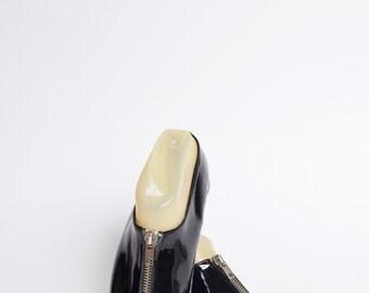 Vintage 90's Patent Leather Zipper Flats