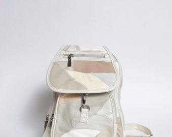 Vintage 90's Real Leather White Patchwork Backpack
