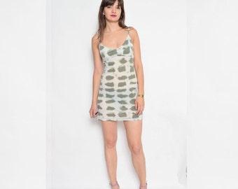 Vintage 90's Strappy Sheer Mini Dress / Sleeveless Mini Beige Dress - Size Medium