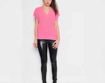 Vintage 80's Chunky Hot Pink Knit Vest  / Pink Ribbed Top