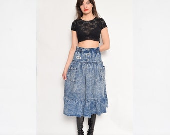 Vintage 80's Acid Wash Denim Skirt / High Waist Denim Skirt / Ruffled Denim Skirt / Midi Flared Acid Wash Skirt