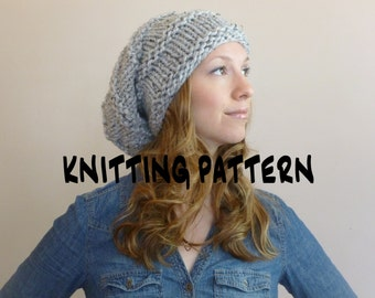 INSTANT DOWNLOAD Knit Hat Pattern Oversized Slouchy Beanie, Knitting Hat Pattern,Slouchy Hat Pattern Slouch Beanie Hat Pattern Fall Fashion