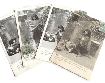 Set of 4 Vintage French Postcards . Boho Boy and His Lute Outdoors in the Snow . Vintage Postcard Set .
