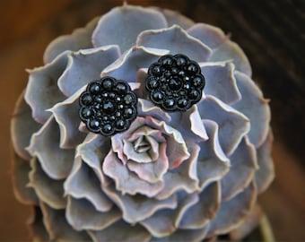 Black Patterned Button Stud Earring!