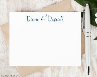 Personalized Notecard Set / Set of Flat Personalised Stationery / Stationary / couples engagement wedding his and hers // SCRIPT COUPLE