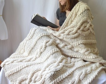 Chunky Wool Blend Knitted Blanket,  Throw Blanket, Cable Knit Afghan, wedding Knit, Celtic Aran Knit, Housewarming Gift, Florence Blanket