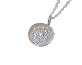 Recycled Silver Tree of Life Charm Necklace, No. 1, Spring Nature Jewelry