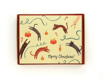 Box of 8 Jumping Cats Holiday Card - Merry Christmas! - handpainted greeting card / HLY-CATS-BOX