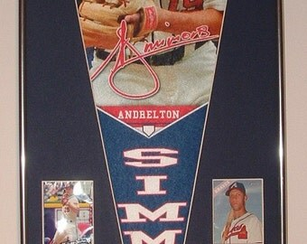 Atlanta Braves Andrelton Simmons Player Pennant & Cards..Custom Framed!!