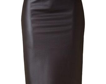 Vegan Leather Pencil Skirt, Vegan Skirt, Faux Leather Skirt, Vegan Pencil Skirt, Vegan Clothing, Faux Pencil Skirt, Animal Free Clothing