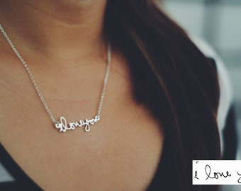 Custom Handwriting Necklace Sterling Silver - Personalized Actual Handwriting