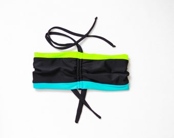 Black Bikini Top, DDD Bra, Color Block Bikini, Geek Swimwear, Strappy Bikini Top, Bathing Suit Top, Bikini Top