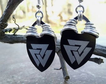 Valknut Etched Dragon Scale and Chainmaille Earrings