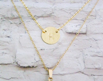 Double Layered initial & birthstone Necklace,  2 necklaces, Mother's day